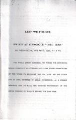 Memorial Service - April 1950