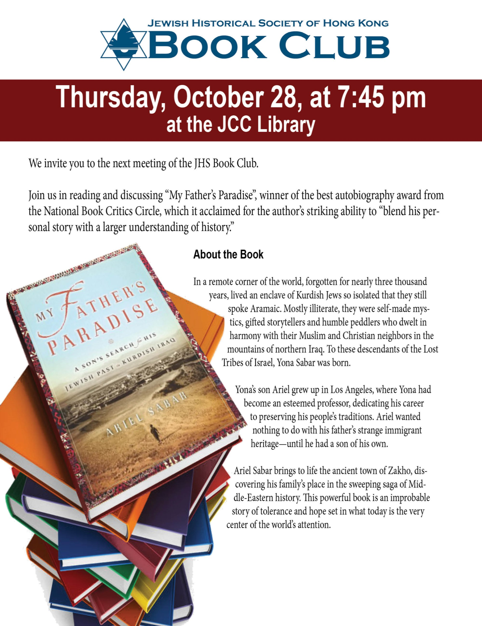 2021.10.28_Book Club Flyer_My Father's Paradise